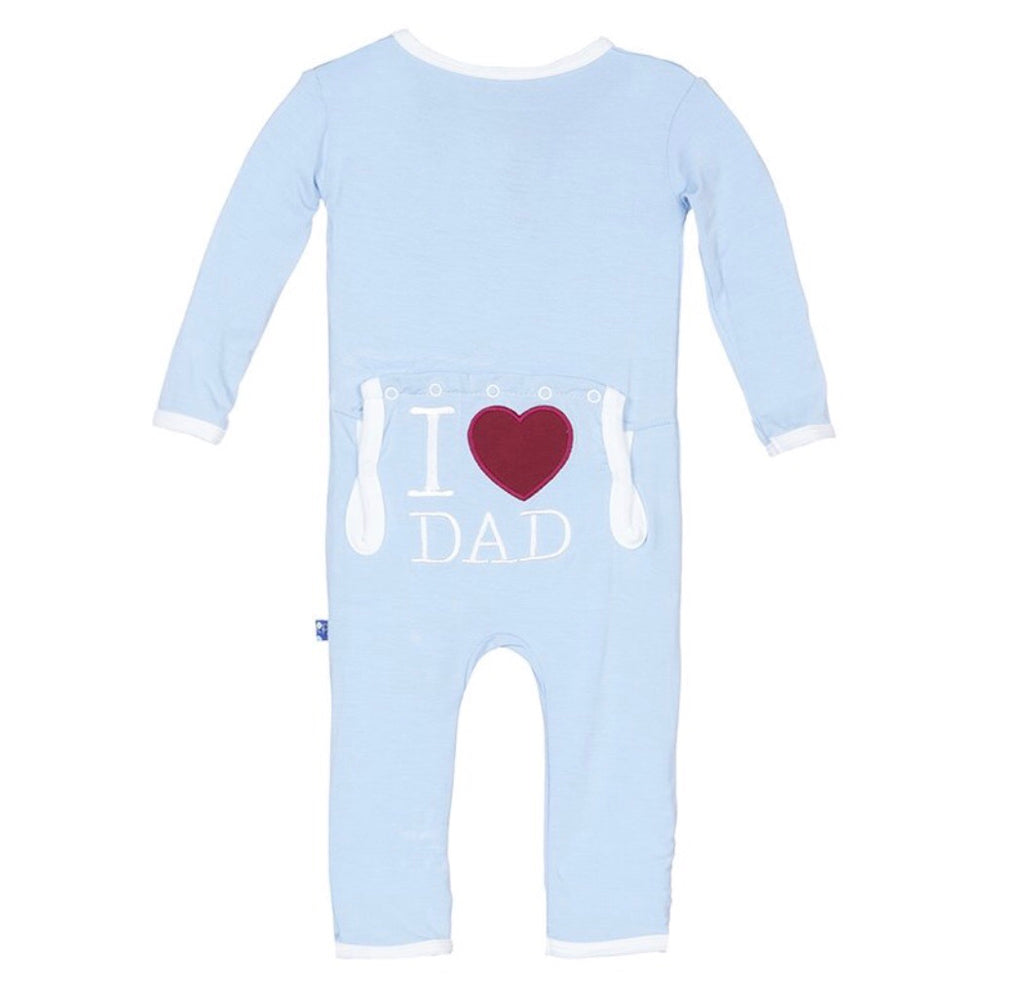 KicKee Pants Holiday Applique Coverall in Pond I Love Dad-KicKee Pants-The Bugs Ear