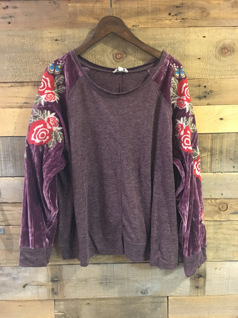 Johnna Scoop Neck Top With Floral Embroidered Velvet Sleeves-Umgee-The Bugs Ear