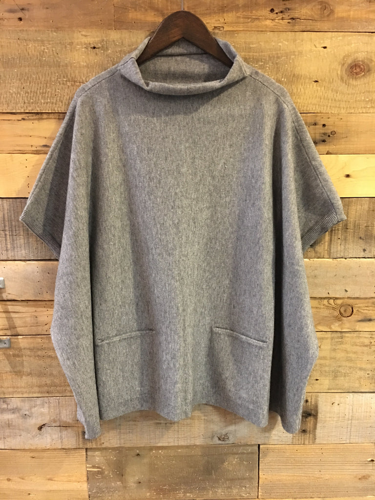 Avery Grey Mock Neck Poncho Sweater-RD Style-The Bugs Ear
