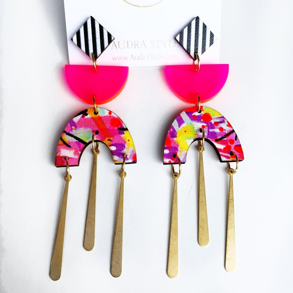 Audra Style Eloise - Neon Pink Yellow Abtract-Audra Style-The Bugs Ear