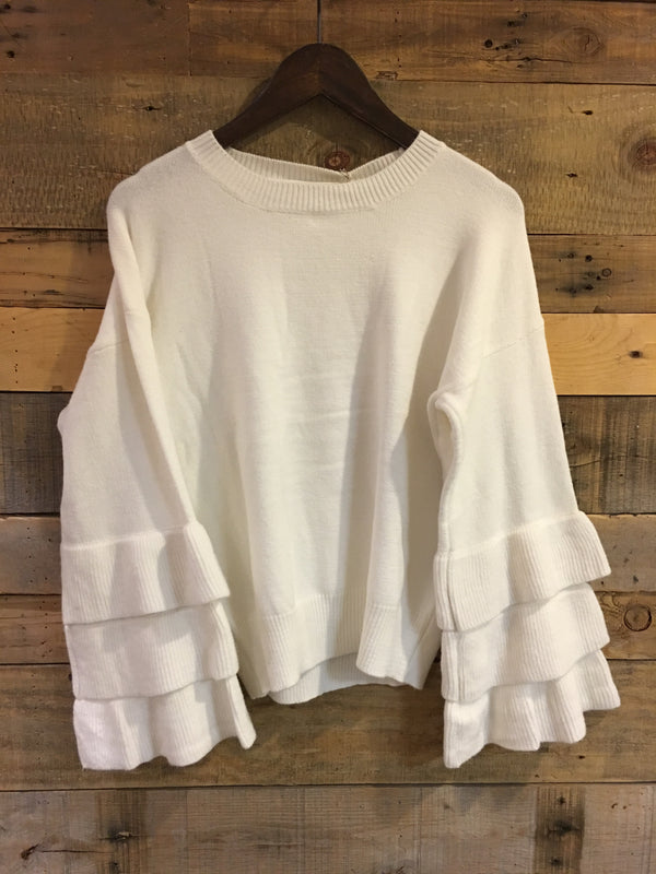 Leslie Ruffle Sleeve Sweater in Cream-Ellison-The Bugs Ear
