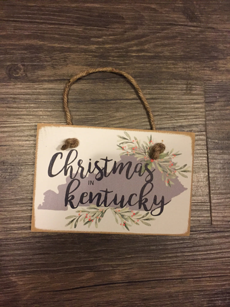 Christmas in Kentucky Wooden Tile Ornament-Trifecta Designs-The Bugs Ear