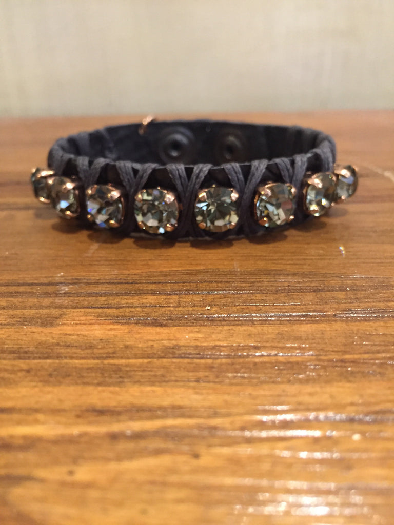 Anat Black Leather Cuff With Black Diamond Crystals-La Hola-The Bugs Ear