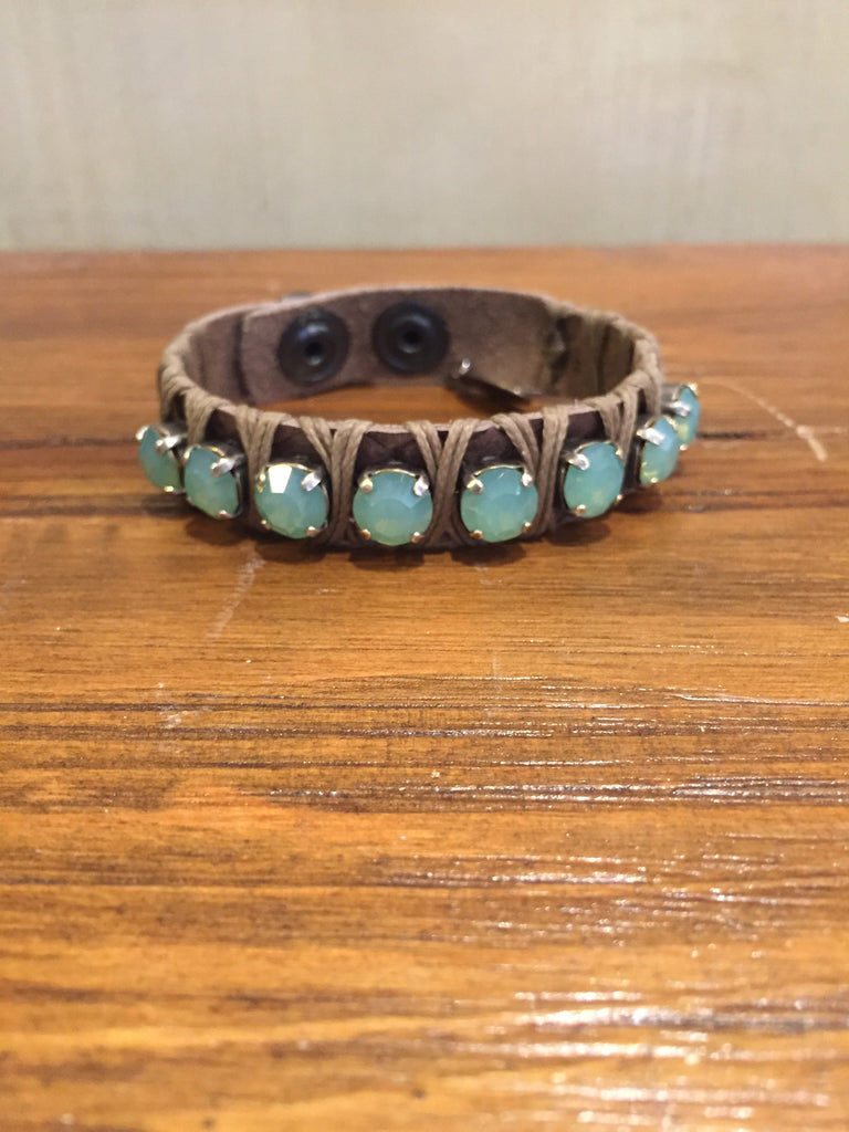 Dalit Tan Leather Cuff With Pacific Opal Crystals-La Hola-The Bugs Ear