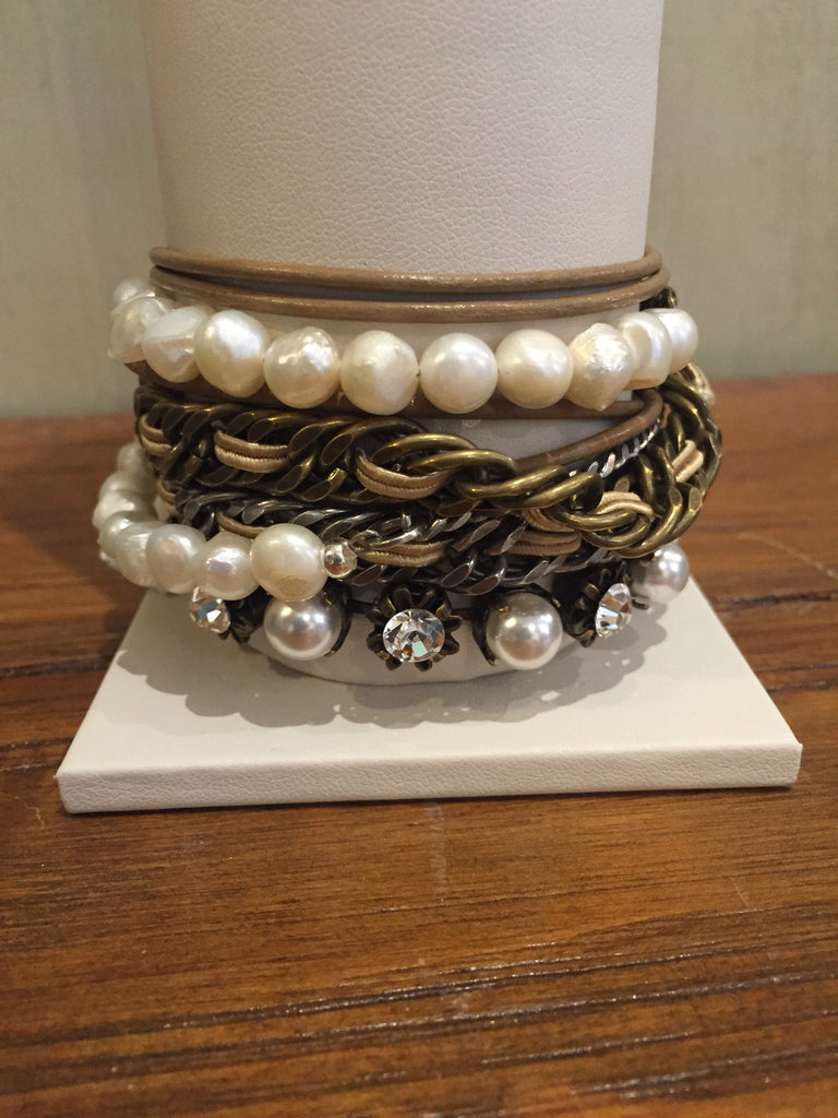 Bayla Taupe Leather Wrap Bracelet With Pearls-La Hola-The Bugs Ear