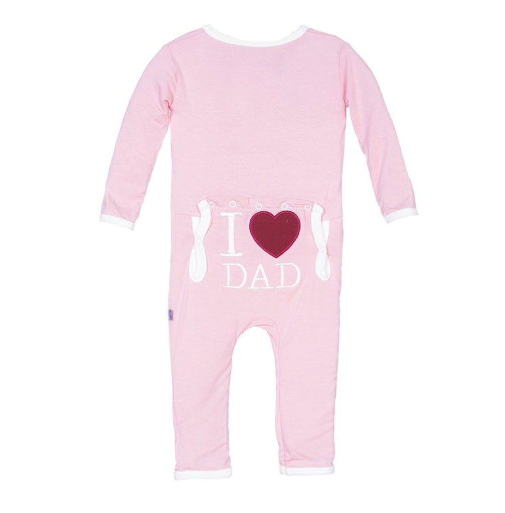 KicKee Pants Holiday Applique Coverall in Lotus I Love Dad-KicKee Pants-The Bugs Ear