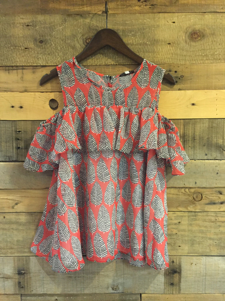 Clara Coral Leaves Open Shoulder Ruffles Top-Joy Joy-The Bugs Ear