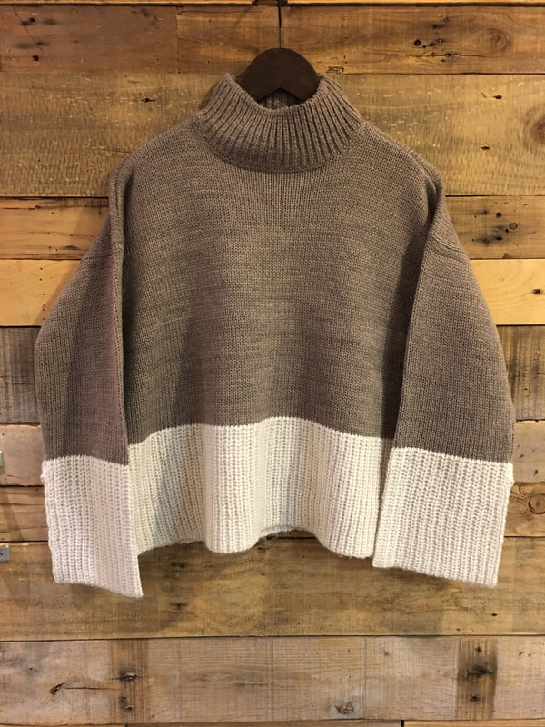 Jana Stripe Knit Sweater in Shiitake Grey-RD Style-The Bugs Ear