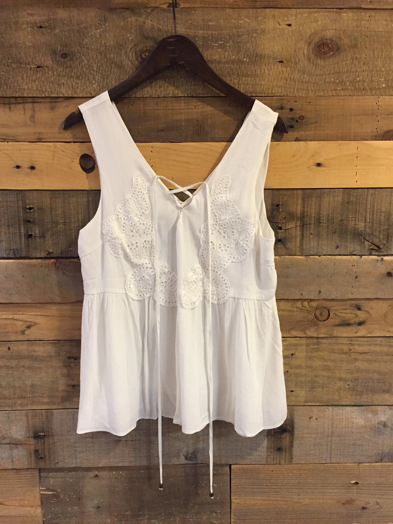 Serena Ivory Sleeveless Top with Lace Detail-Moon River-The Bugs Ear