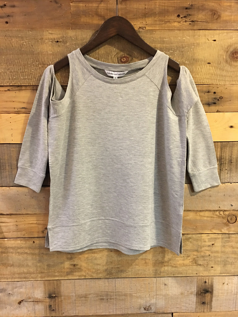 Cupcakes and Cashmere Mariam Cold Shoulder Sweatshirt in Light Heather Grey-Cupcakes and Cashmere-The Bugs Ear