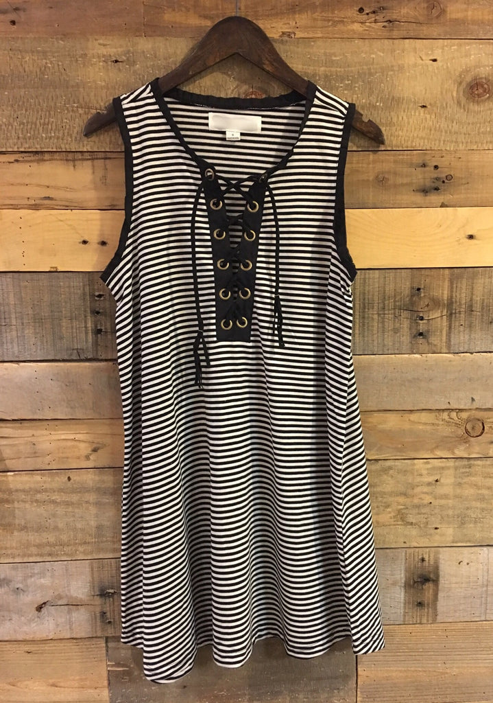 Bailey Black and Ivory Striped Lace Up Dress-Vintage Havana-The Bugs Ear