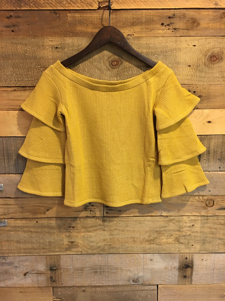 Calliope Ruffle Sleeve Off Shoulder Top-THML-The Bugs Ear