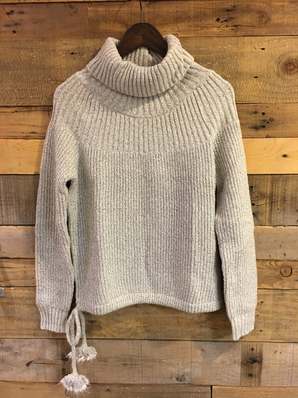 Hannah Turtleneck Sweater With Side Pom Details-THML-The Bugs Ear