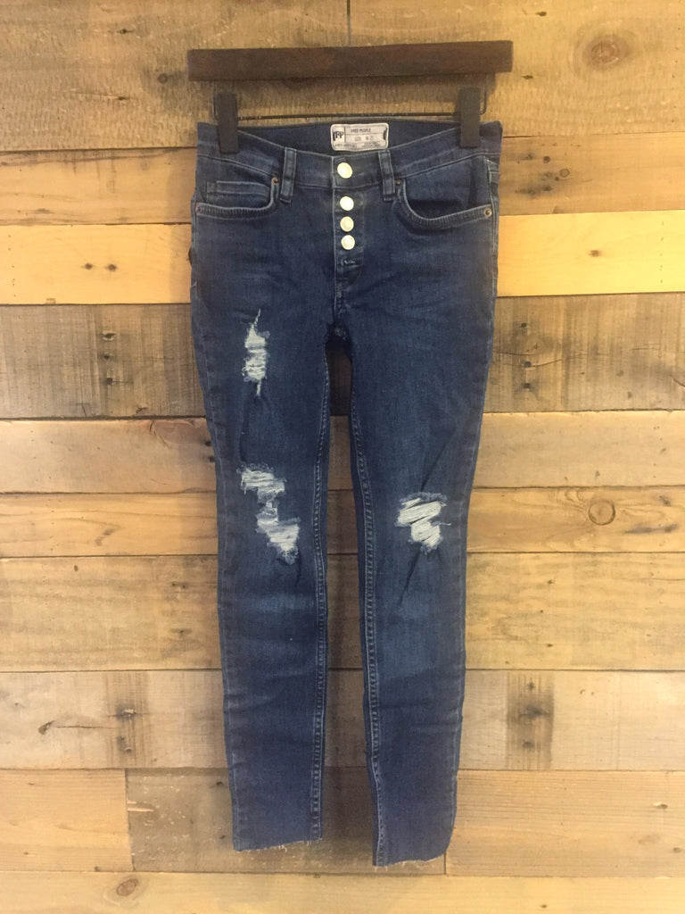 Free People Destroyed Reagan Button Front Jeans-Free People-The Bugs Ear