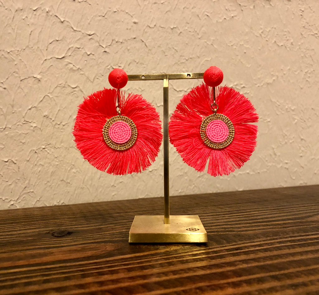 Aurora Fringe Statement Earrings Coral-Caroline Hill Designs-The Bugs Ear
