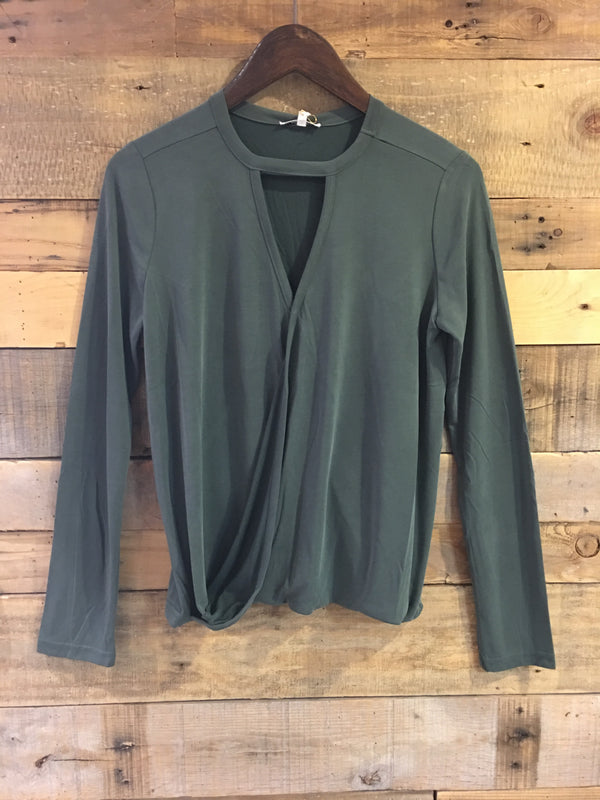 April Cross Front Long Sleeve Top in Green Gables-Black Swan-The Bugs Ear
