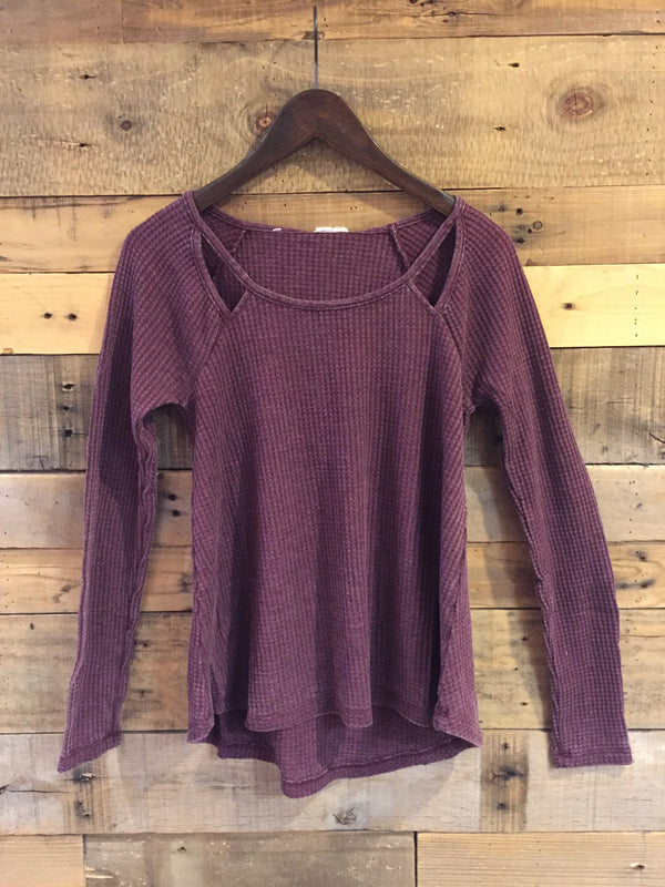 Groove Long Sleeve Waffle Top in Winetasting-Others Follow-The Bugs Ear
