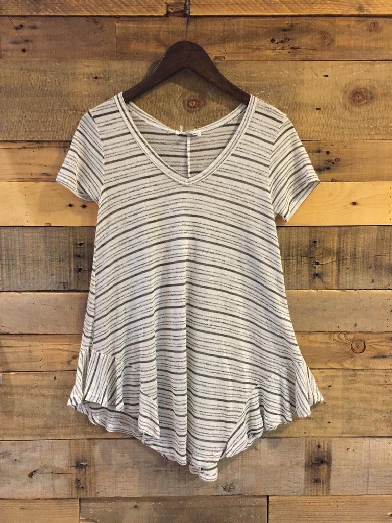 Sharon Grey Striped Knit Top-On The Road-The Bugs Ear