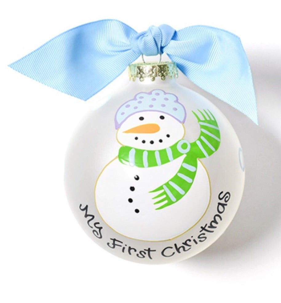 Coton Colors My First Christmas Snowman Boy Glass Ornament-Coton Colors-The Bugs Ear