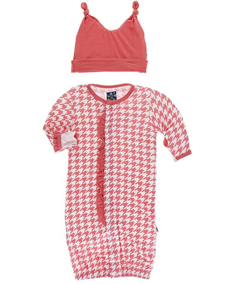 KicKee Pants London Ruffle Layette Gown Converter and Double Knot Hat Set in English Rose Houndstooth-KicKee Pants-The Bugs Ear