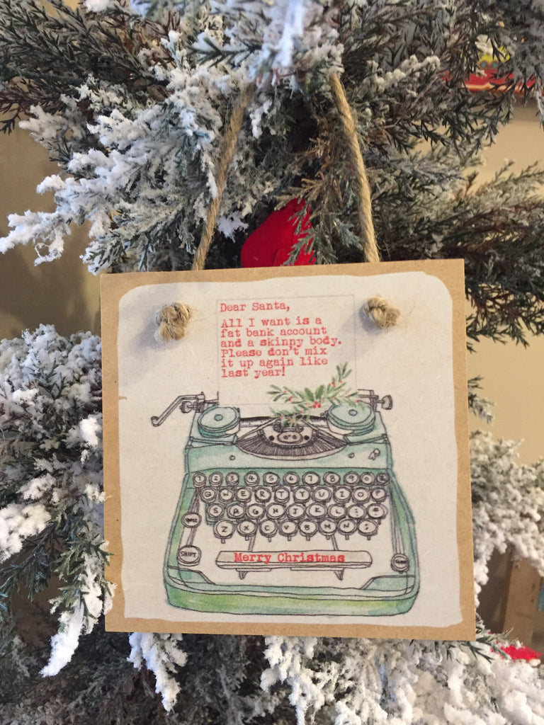 Dear Santa Typewriter Wooden Tile Ornament-Trifecta Designs-The Bugs Ear