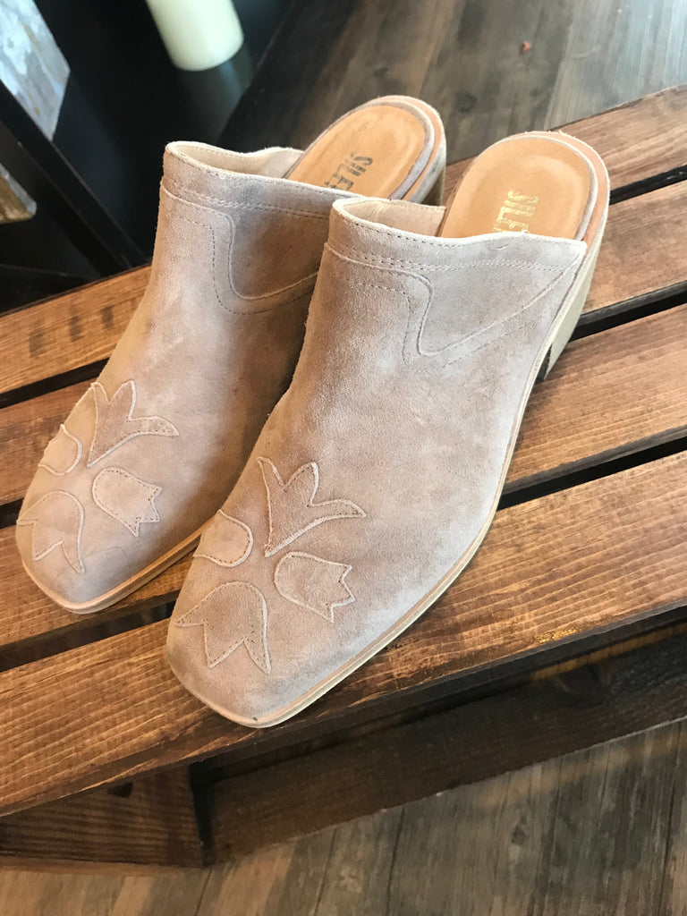 792a2107b22 Lindsay Taupe Suede Floral Mules-Silent D-The Bugs Ear