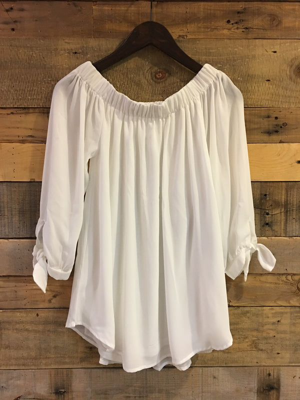 Irene Contemporary Off Shoulder Ivory Top-Wishlist-The Bugs Ear