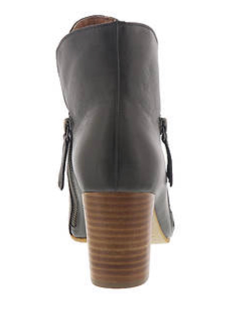 Uriah Olive Leather Booties-Silent D-The Bugs Ear