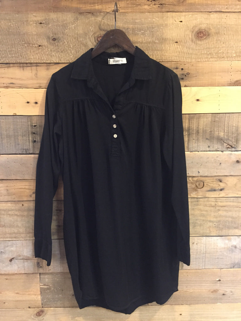 Black Safari Tencel Shirt Dress-Glam-The Bugs Ear