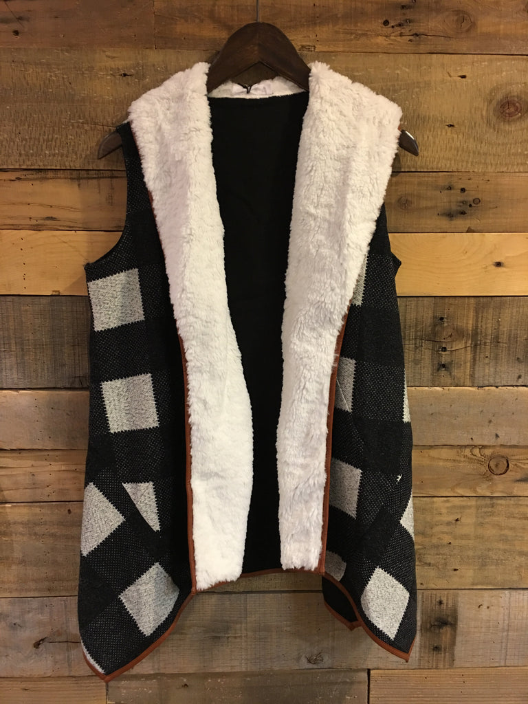 Harper Checkered Shearling Vest-THML-The Bugs Ear
