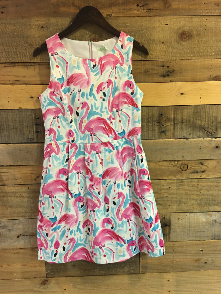 Flamingo Fit and Pleat Dress-Jade Melody Tam-The Bugs Ear