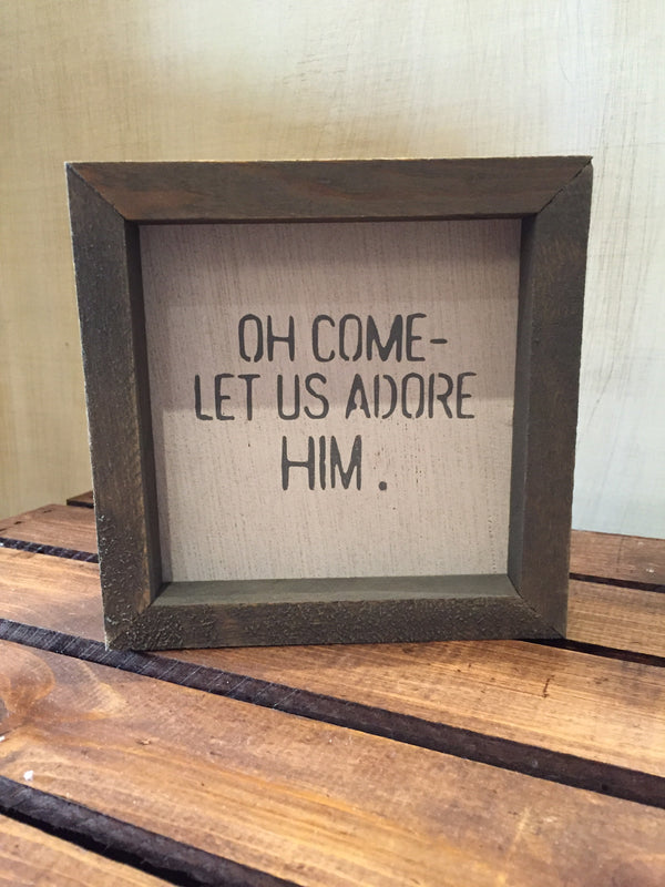 Oh Come Let Us Adore Him Petite Word Board-Face to Face Designs-The Bugs Ear