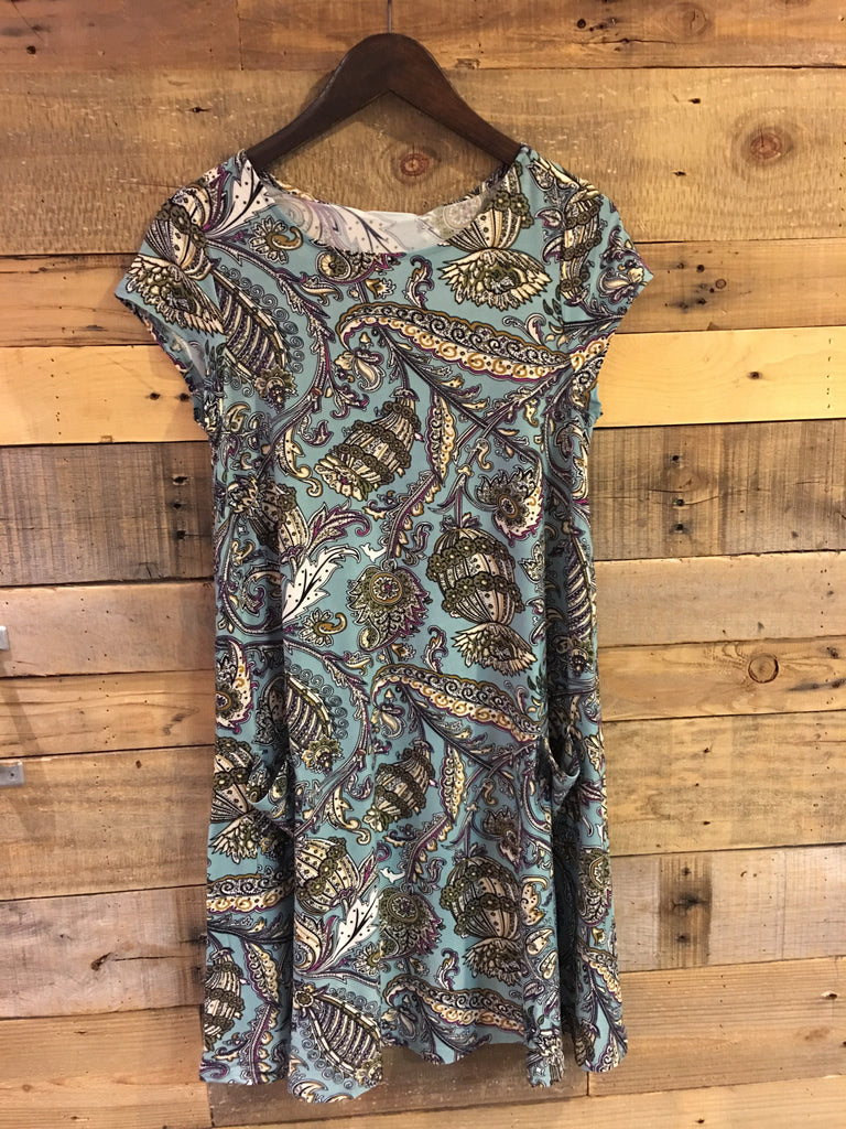 Piper Knit Paisley Dress in Sea Blue-Aryeh-The Bugs Ear