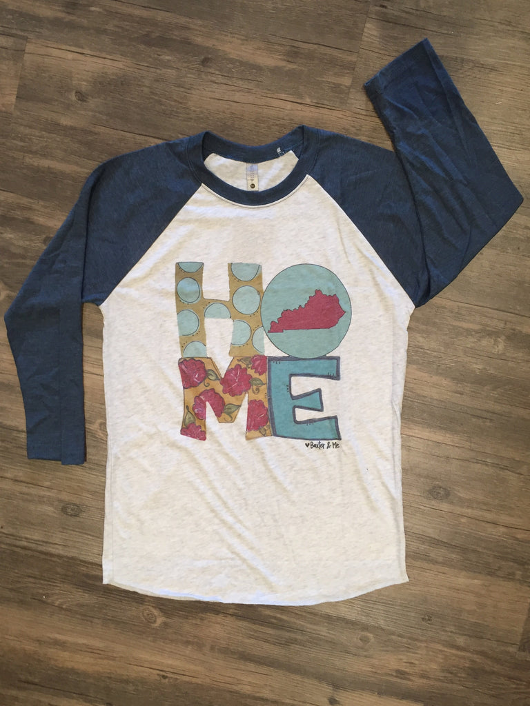 Flew South Home State Kentucky Raglan-Southern Roots-The Bugs Ear