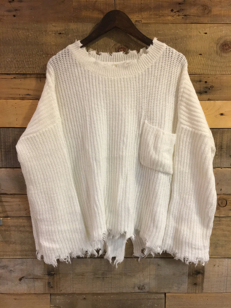 Joelle Distressed Winter White Knit Sweater-RD Style-The Bugs Ear