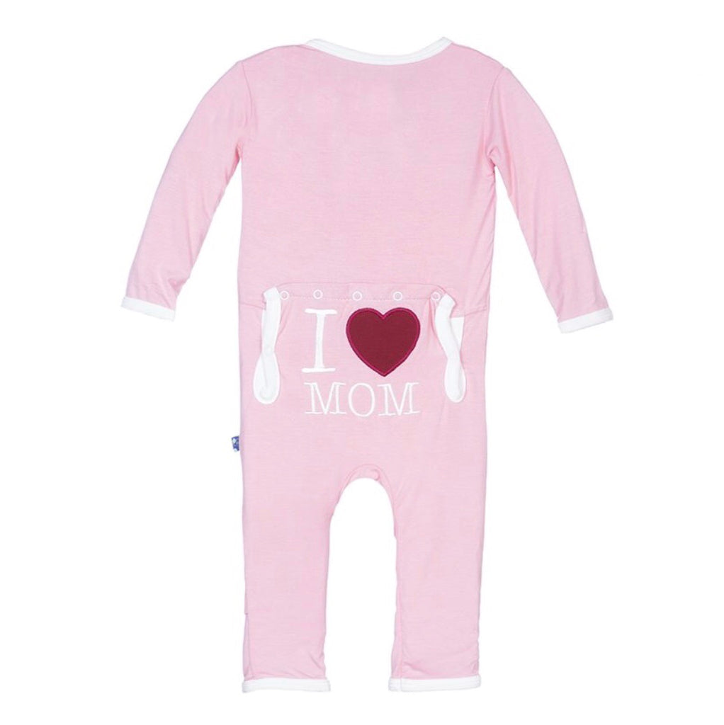 KicKee Pants Holiday Applique Coverall in Lotus I Love Mom-KicKee Pants-The Bugs Ear