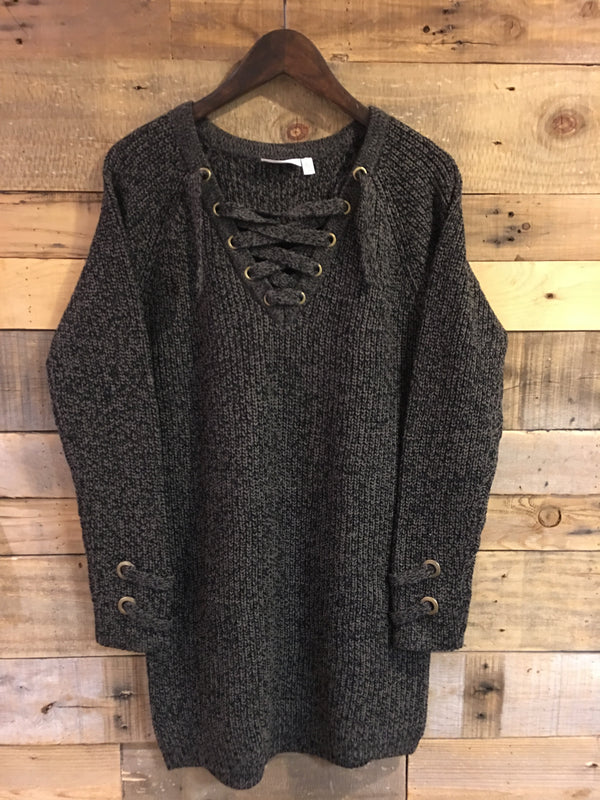 Ollie Knit Sweater Dress in Olive Twist-RD Style-The Bugs Ear