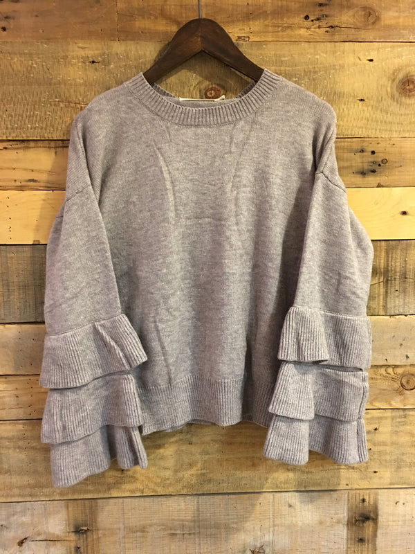 Leslie Ruffle Sleeve Sweater in Grey-Ellison-The Bugs Ear