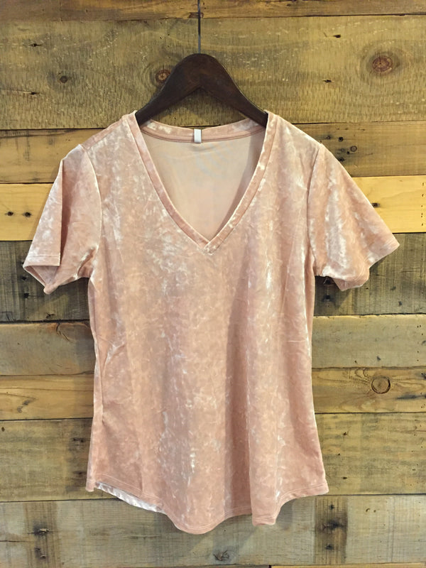 Z Supply Crushed Velour Tee in Rose Smoke-Z Supply-The Bugs Ear