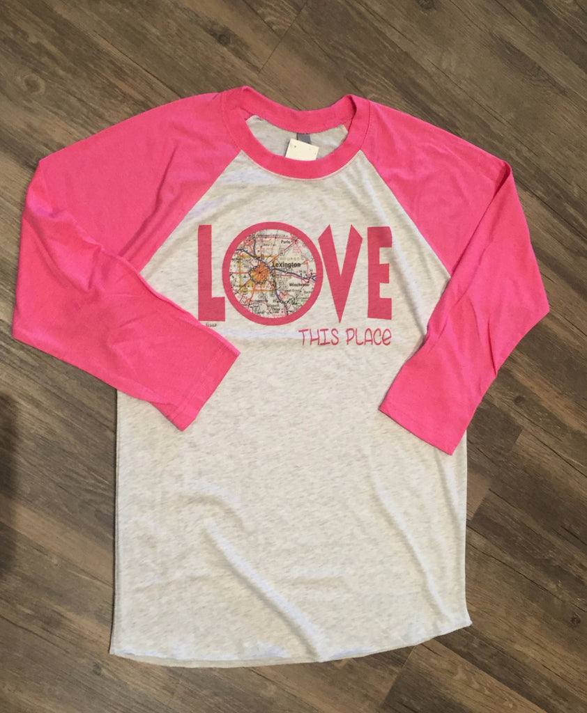 I Love This Place Lexington Pink Baseball Tee-Julio-The Bugs Ear