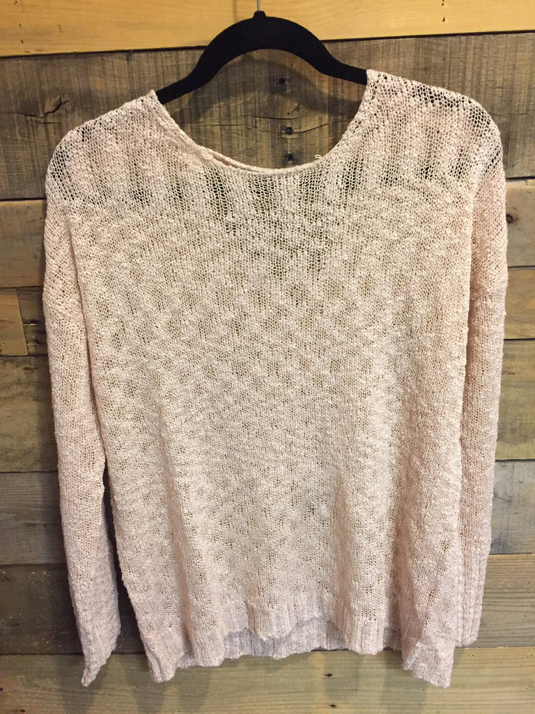 Eloise Lace Back Loose Knit Sweater Peach-On The Road-The Bugs Ear