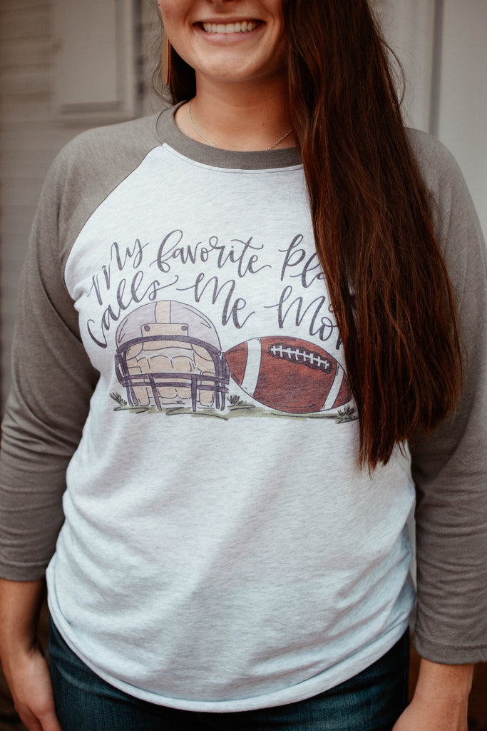 My Favorite Player Calls Me Mom Football Raglan-Doodles By Rebekah-The Bugs Ear