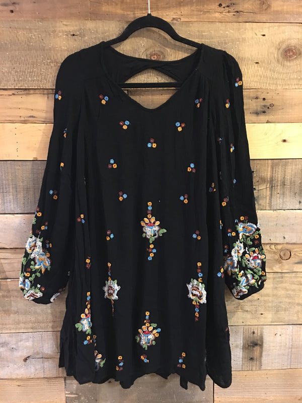 Free People Oxford Embroidered Mini Dress in Black-Free People-The Bugs Ear