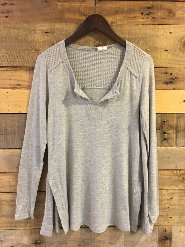 Robin Long Sleeve Top With Waffle Detail in Heather Grey-Others Follow-The Bugs Ear