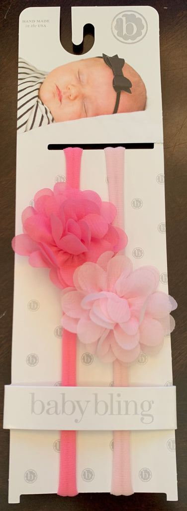 Baby Bling 2 Pk Mini Chiffon Flower Bubble Gum and Pink-Baby Bling-The Bugs Ear