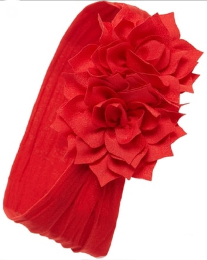 Baby Bling Holiday Poinsettia Flower Headband in Cherry-Baby Bling-The Bugs Ear