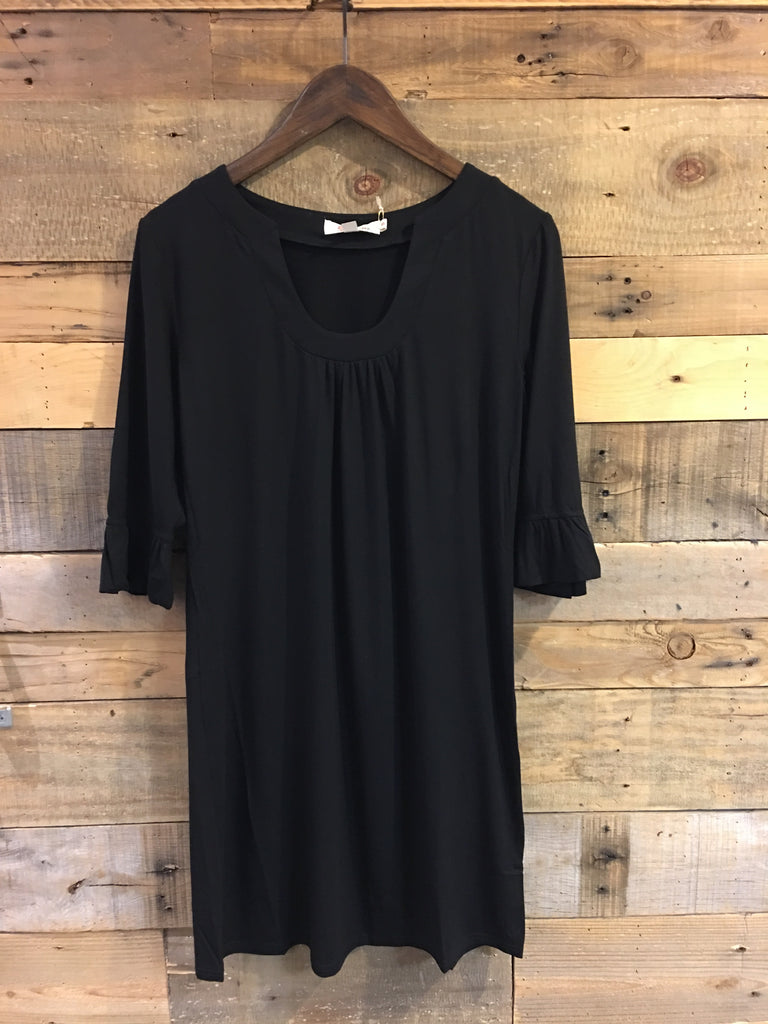 Tessa Black U Neck Knit Dress-Aryeh-The Bugs Ear