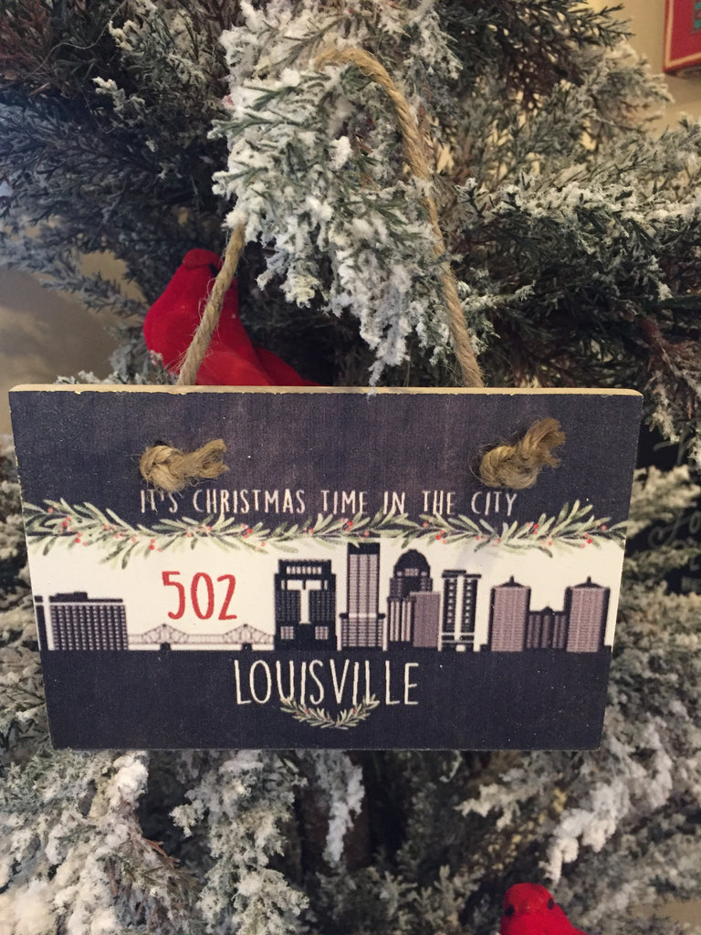 502 Louisville Wooden Tile Ornament-Trifecta Designs-The Bugs Ear
