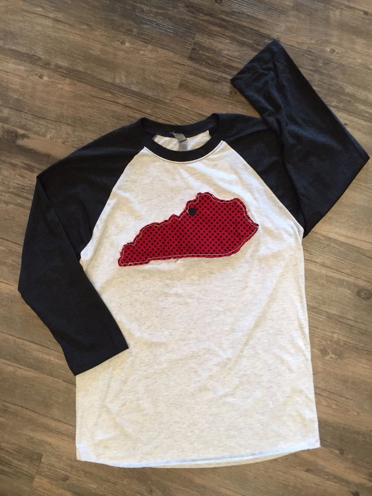Flew South Fringed State Spirit Red and Black Raglan-Southern Roots-The Bugs Ear