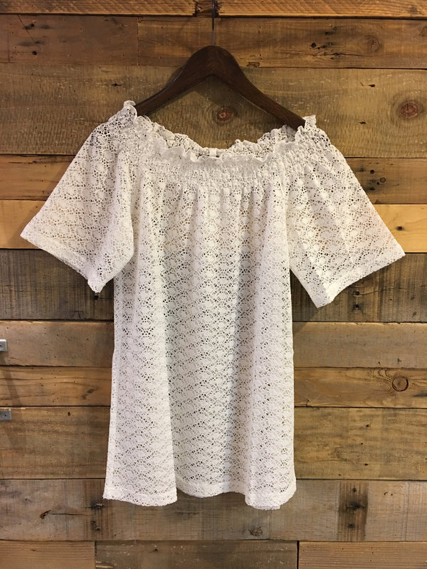 Laura Off Shoulder Top Cover Up in White-Joy Joy-The Bugs Ear